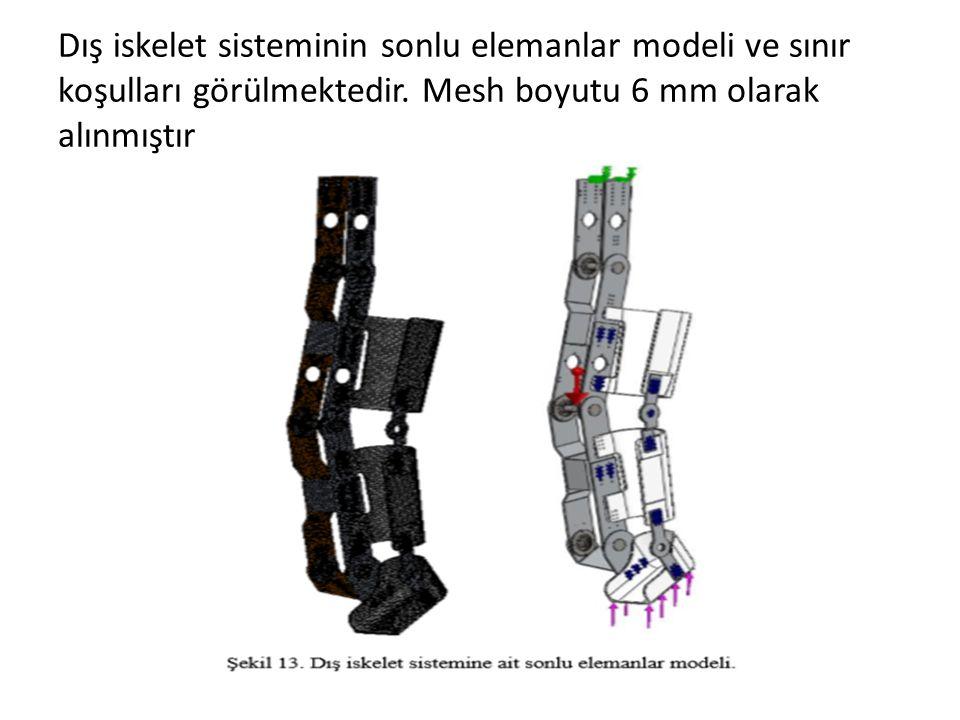 Dış iskelet sisteminin sonlu elemanlar modeli ve sınır koşulları görülmektedir.