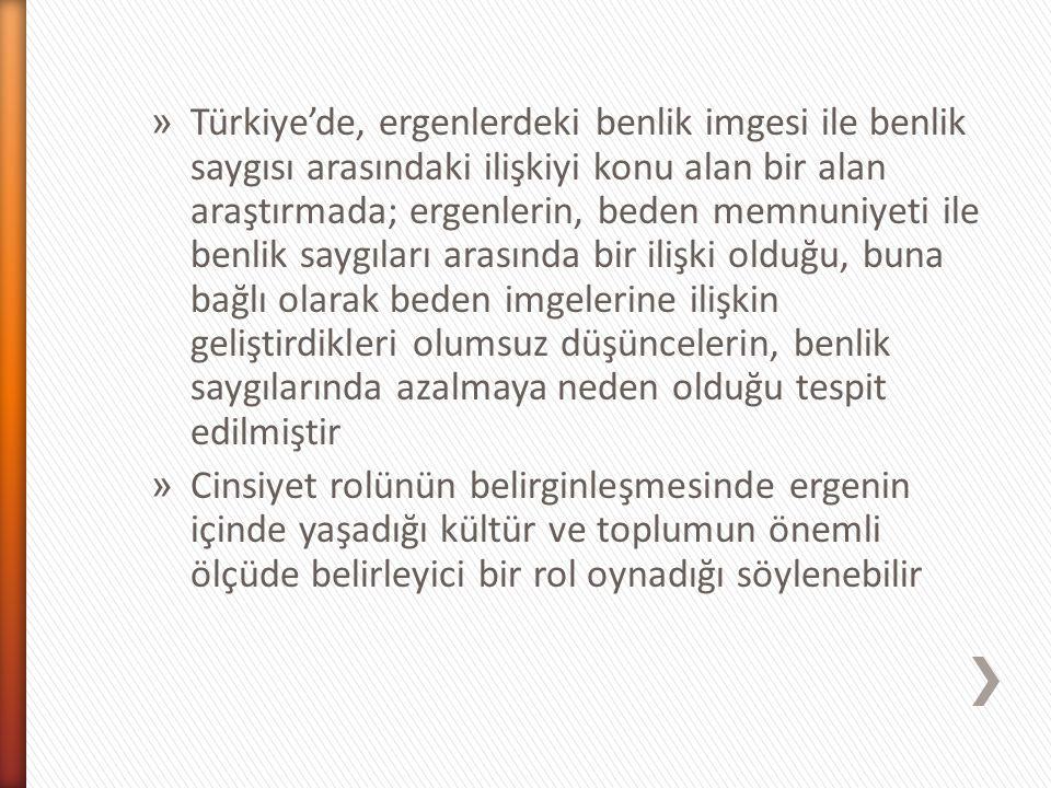 Türkiye'de, ergenlerdeki benlik imgesi ile benlik saygısı arasındaki ilişkiyi konu alan bir alan araştırmada; ergenlerin, beden memnuniyeti ile benlik saygıları arasında bir ilişki olduğu, buna bağlı olarak beden imgelerine ilişkin geliştirdikleri olumsuz düşüncelerin, benlik saygılarında azalmaya neden olduğu tespit edilmiştir