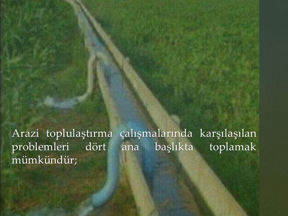 Arazi toplulaştırma çalışmalarında karşılaşılan problemleri dört ana başlıkta toplamak mümkündür;