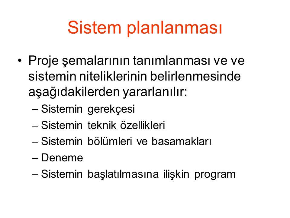 Sistem planlanması Proje şemalarının tanımlanması ve ve sistemin niteliklerinin belirlenmesinde aşağıdakilerden yararlanılır: