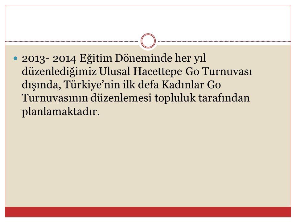 2013- 2014 Eğitim Döneminde her yıl düzenlediğimiz Ulusal Hacettepe Go Turnuvası dışında, Türkiye'nin ilk defa Kadınlar Go Turnuvasının düzenlemesi topluluk tarafından planlamaktadır.