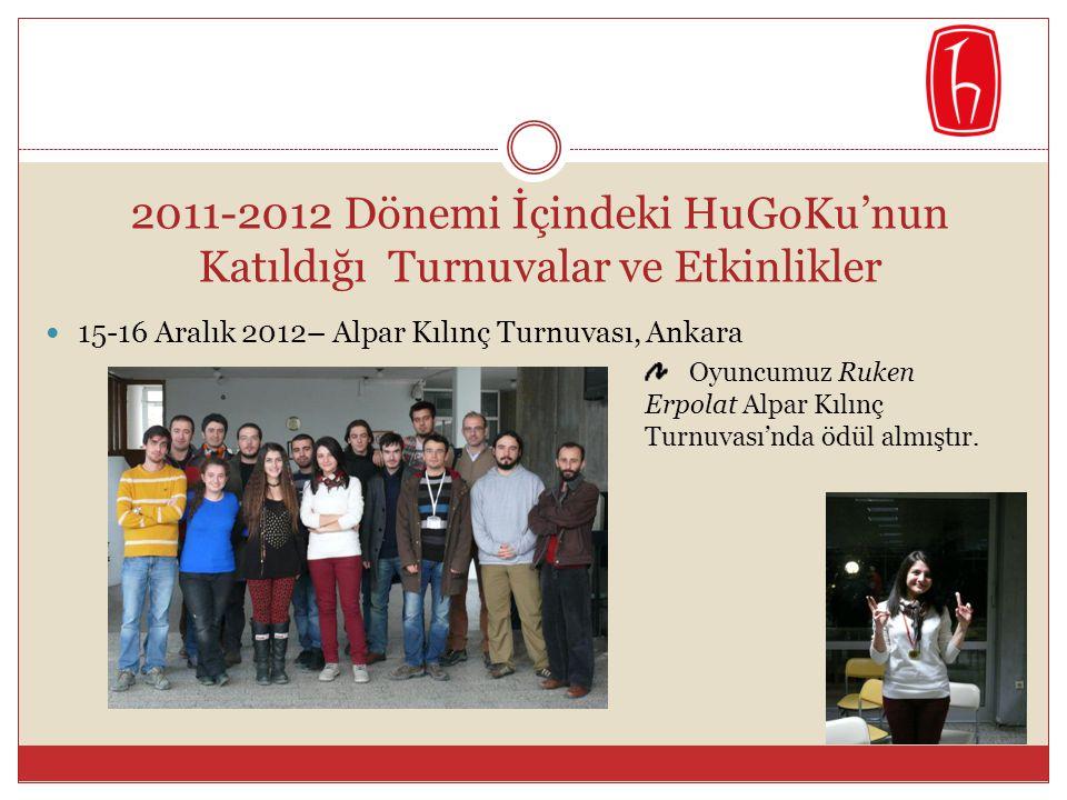 2011-2012 Dönemi İçindeki HuGoKu'nun Katıldığı Turnuvalar ve Etkinlikler