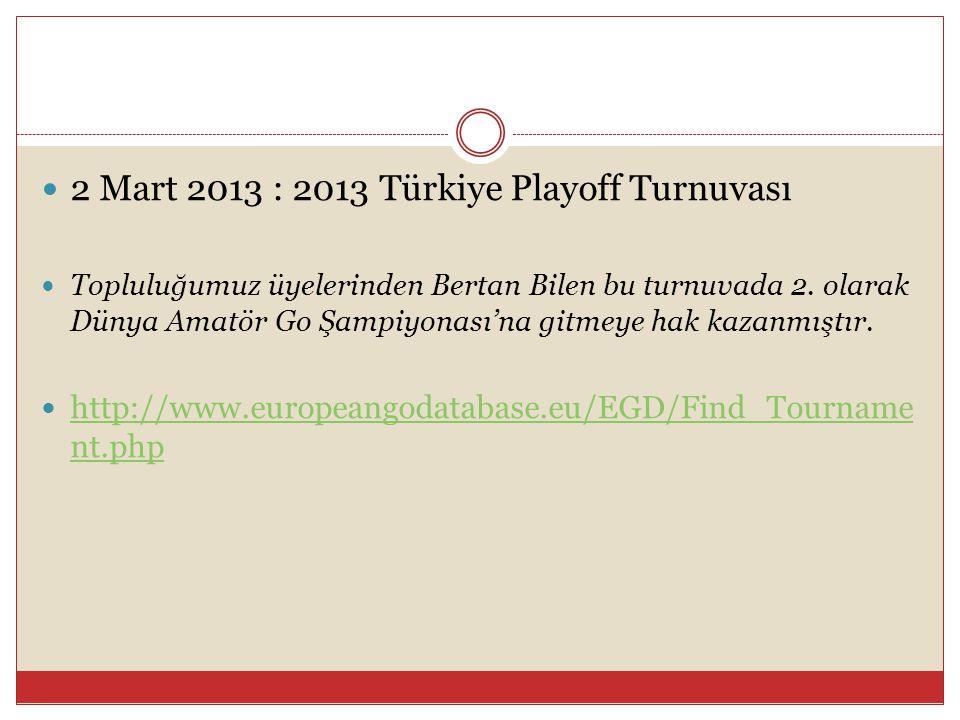 2 Mart 2013 : 2013 Türkiye Playoff Turnuvası