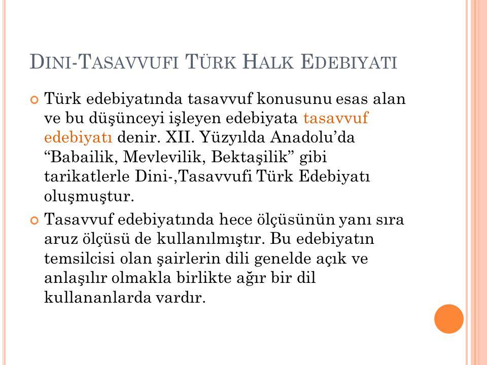 Dini-Tasavvufi Türk Halk Edebiyati