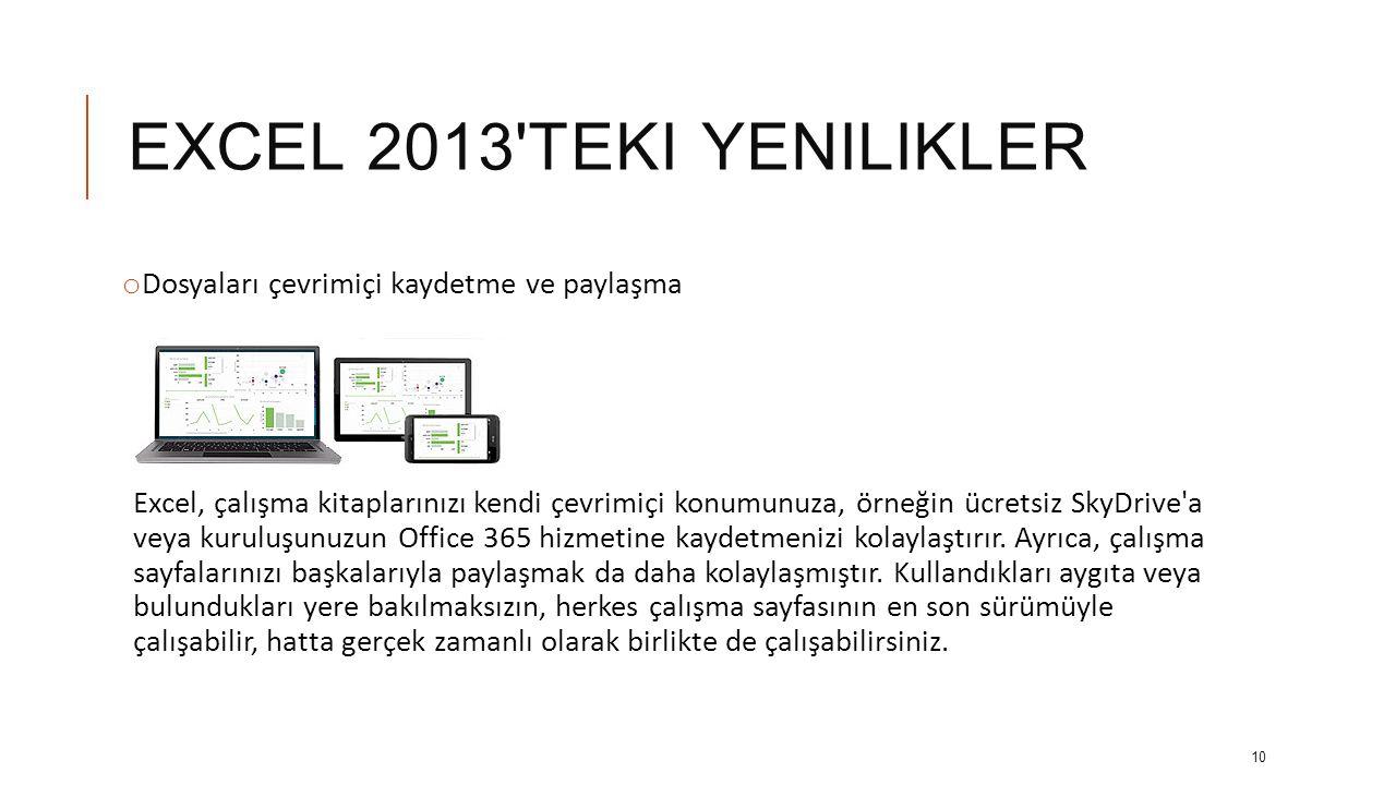 EXCEL 2013 teki yenilikler Dosyaları çevrimiçi kaydetme ve paylaşma