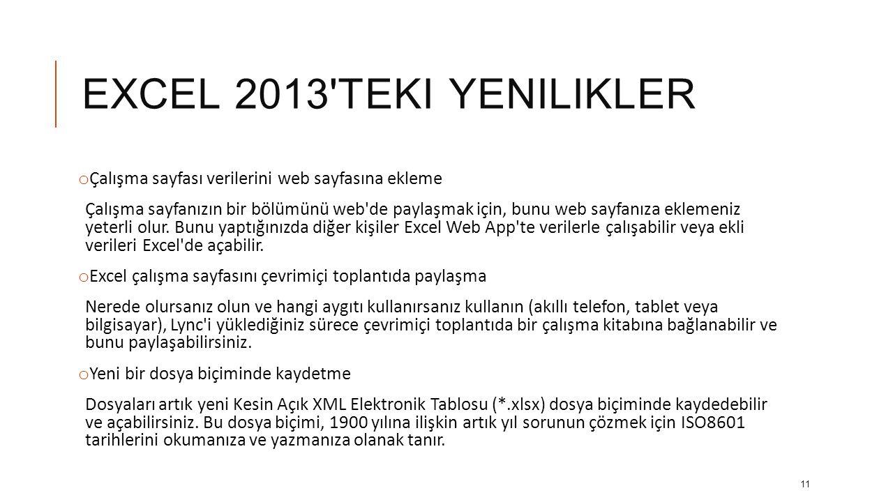 EXCEL 2013 teki yenilikler Çalışma sayfası verilerini web sayfasına ekleme.
