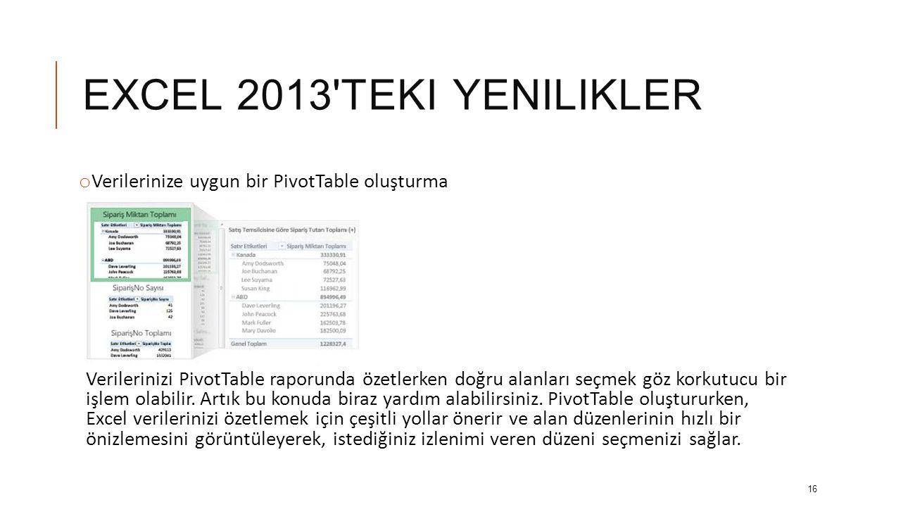 EXCEL 2013 teki yenilikler Verilerinize uygun bir PivotTable oluşturma