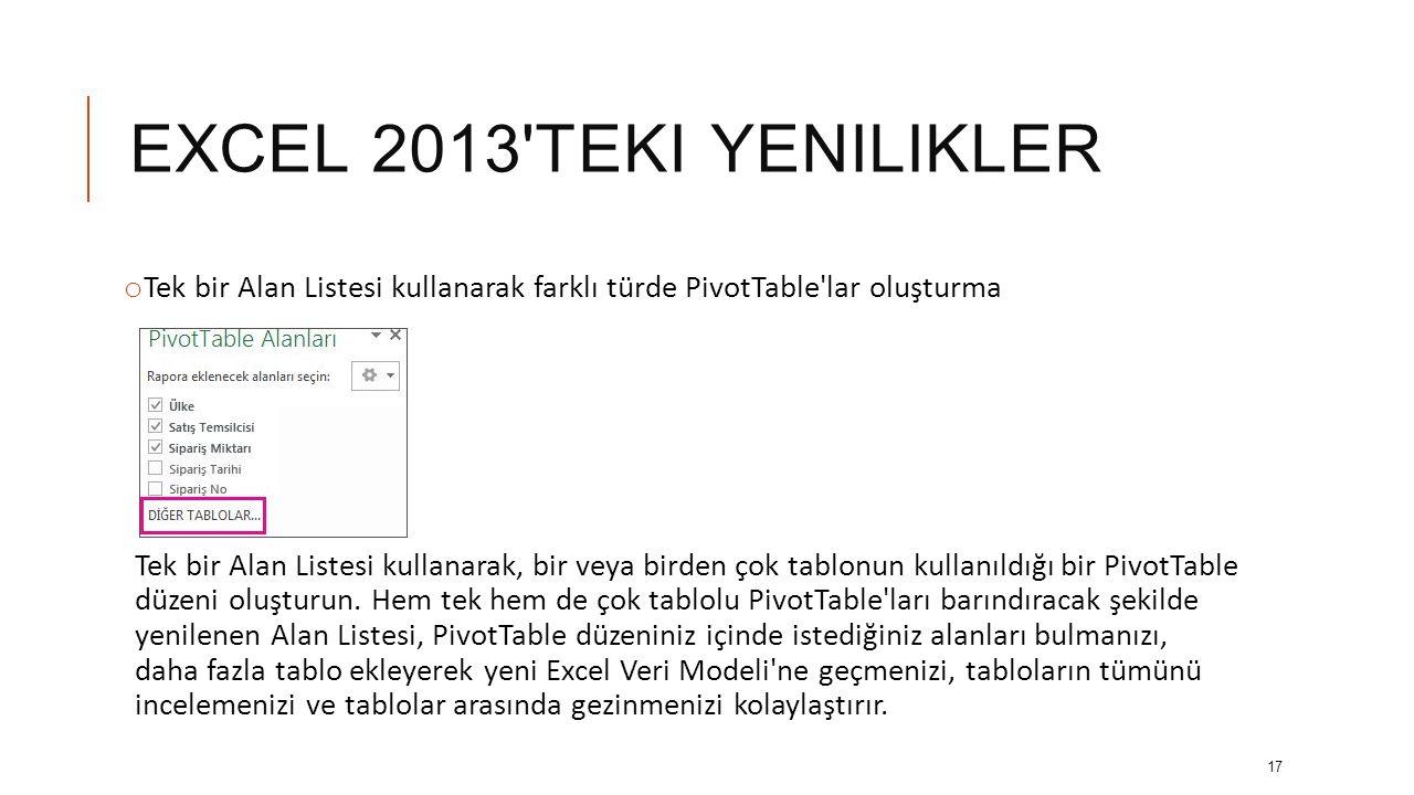 EXCEL 2013 teki yenilikler Tek bir Alan Listesi kullanarak farklı türde PivotTable lar oluşturma.