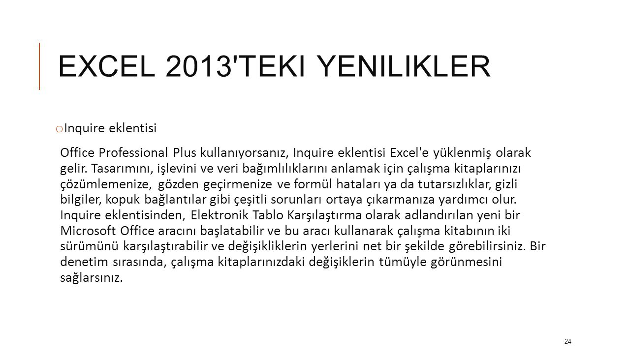EXCEL 2013 teki yenilikler Inquire eklentisi