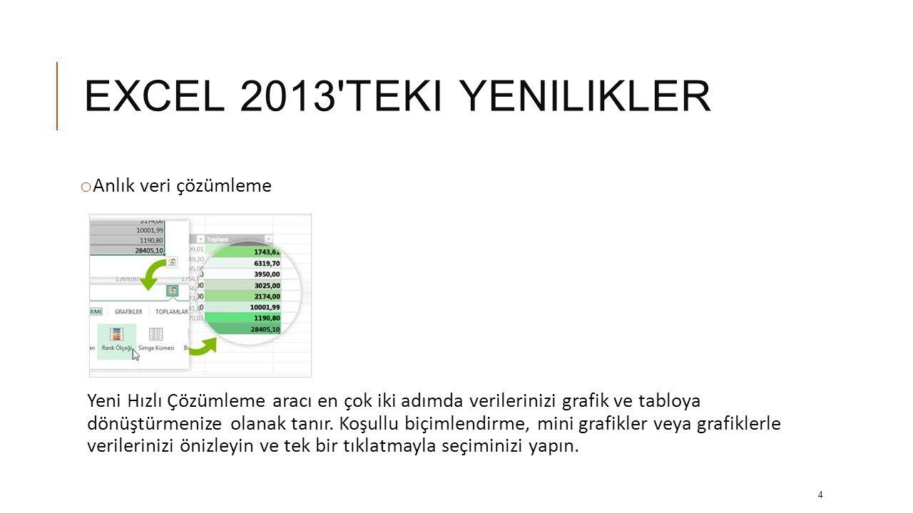 EXCEL 2013 teki yenilikler Anlık veri çözümleme