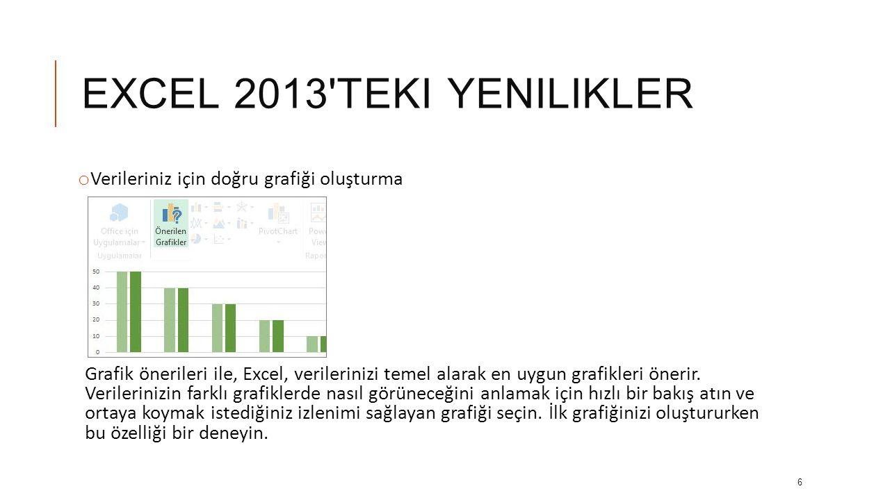 EXCEL 2013 teki yenilikler Verileriniz için doğru grafiği oluşturma