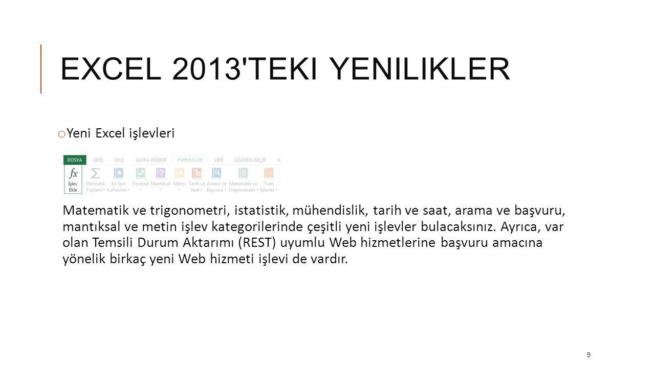 EXCEL 2013 teki yenilikler Yeni Excel işlevleri