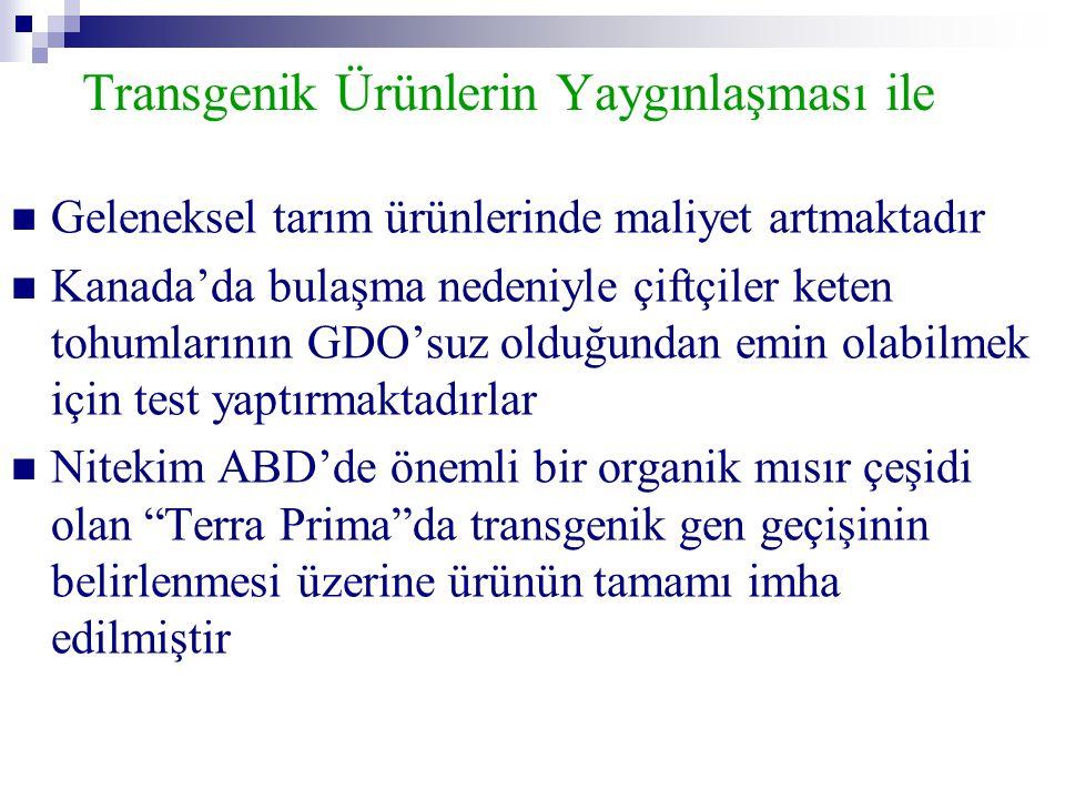 Transgenik Ürünlerin Yaygınlaşması ile