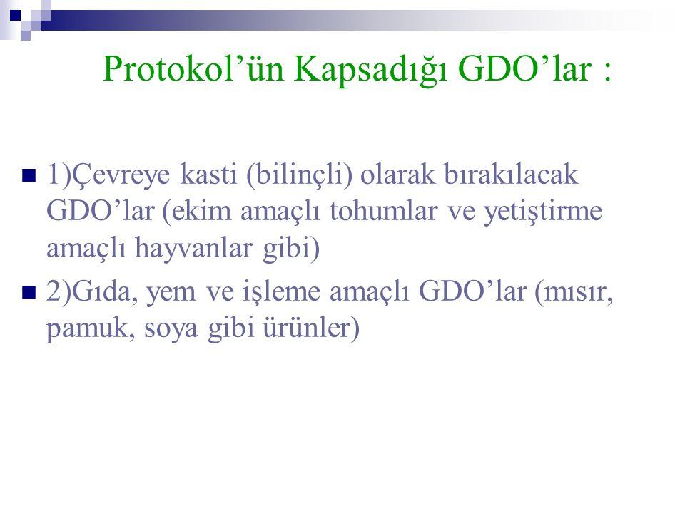 Protokol'ün Kapsadığı GDO'lar :
