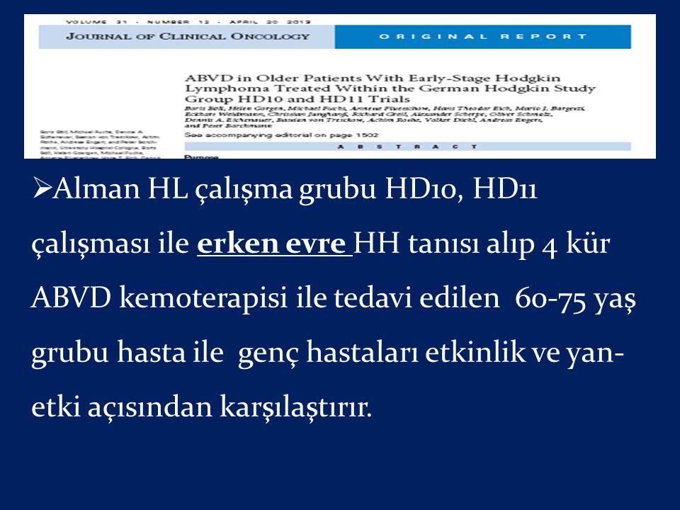 Alman HL çalışma grubu HD10, HD11 çalışması ile erken evre HH tanısı alıp 4 kür ABVD kemoterapisi ile tedavi edilen 60-75 yaş grubu hasta ile genç hastaları etkinlik ve yan-etki açısından karşılaştırır.