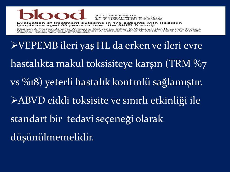 VEPEMB ileri yaş HL da erken ve ileri evre hastalıkta makul toksisiteye karşın (TRM %7 vs %18) yeterli hastalık kontrolü sağlamıştır.