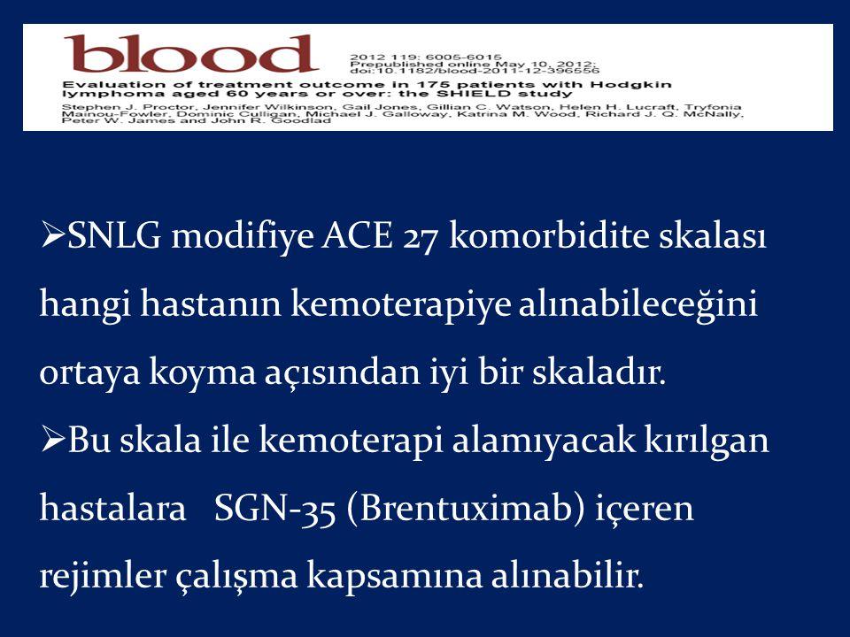 SNLG modifiye ACE 27 komorbidite skalası hangi hastanın kemoterapiye alınabileceğini ortaya koyma açısından iyi bir skaladır.