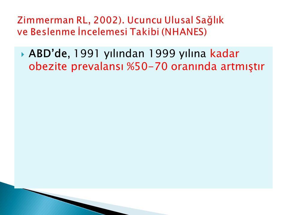 Zimmerman RL, 2002). Ucuncu Ulusal Sağlık ve Beslenme İncelemesi Takibi (NHANES)