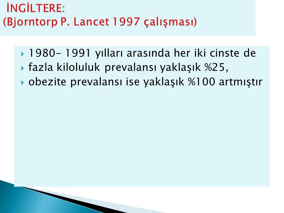 İNGİLTERE: (Bjorntorp P. Lancet 1997 çalışması)