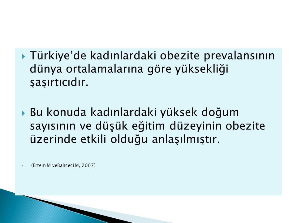 Türkiye'de kadınlardaki obezite prevalansının dünya ortalamalarına göre yüksekliği şaşırtıcıdır.