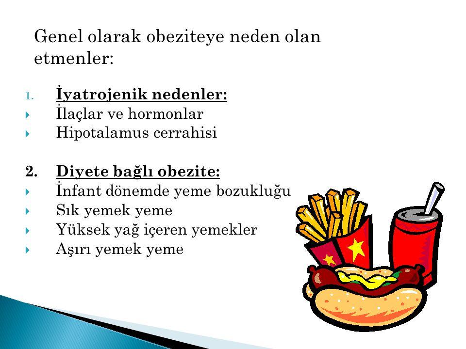 Genel olarak obeziteye neden olan etmenler: