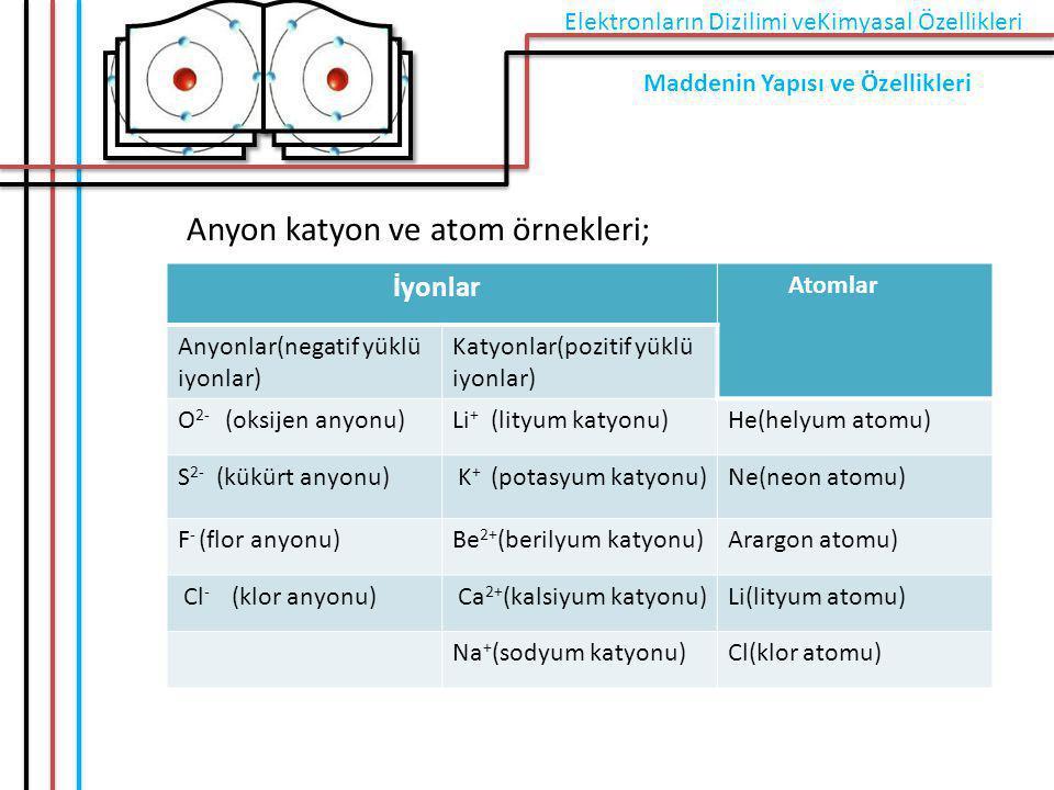 Anyon katyon ve atom örnekleri;