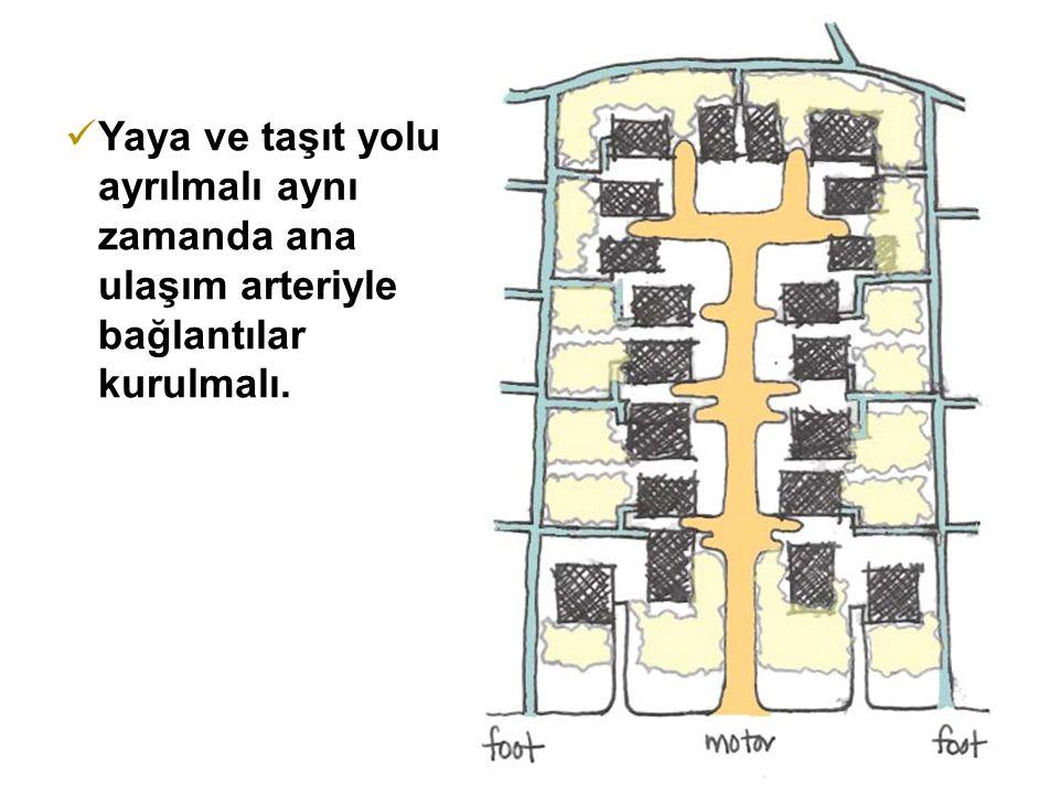 Yaya ve taşıt yolu ayrılmalı aynı zamanda ana ulaşım arteriyle bağlantılar kurulmalı.
