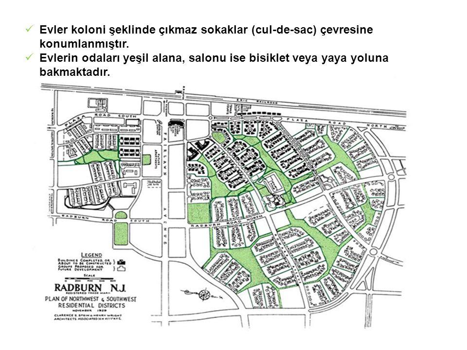 Evler koloni şeklinde çıkmaz sokaklar (cul-de-sac) çevresine konumlanmıştır.