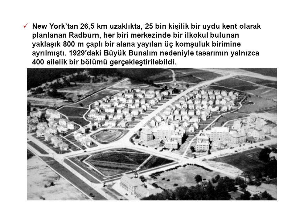 New York'tan 26,5 km uzaklıkta, 25 bin kişilik bir uydu kent olarak planlanan Radburn, her biri merkezinde bir ilkokul bulunan yaklaşık 800 m çaplı bir alana yayılan üç komşuluk birimine ayrılmıştı.