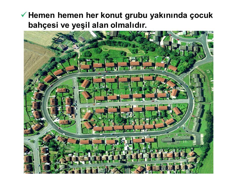 Hemen hemen her konut grubu yakınında çocuk bahçesi ve yeşil alan olmalıdır.