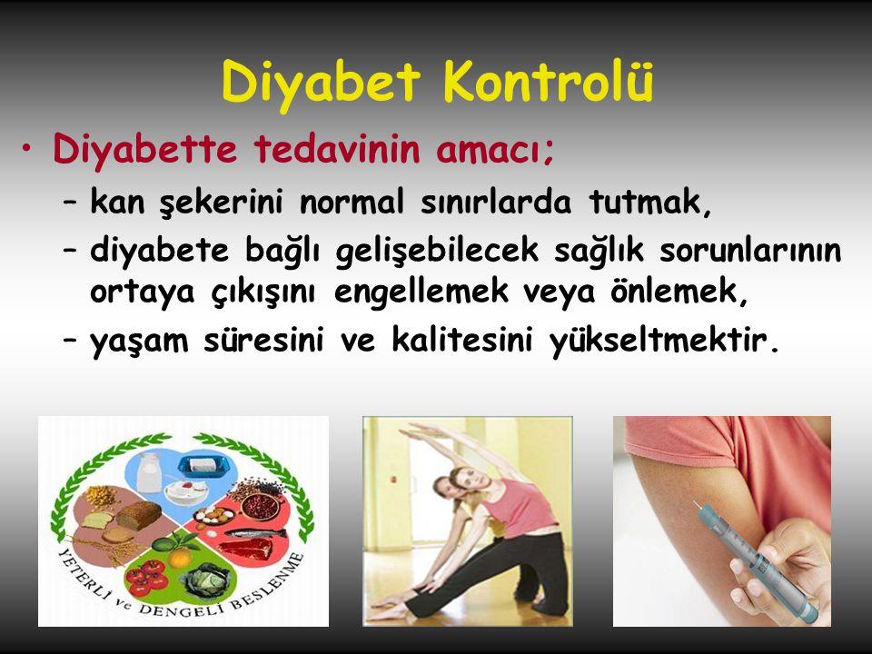 Diyabet Kontrolü Diyabette tedavinin amacı;