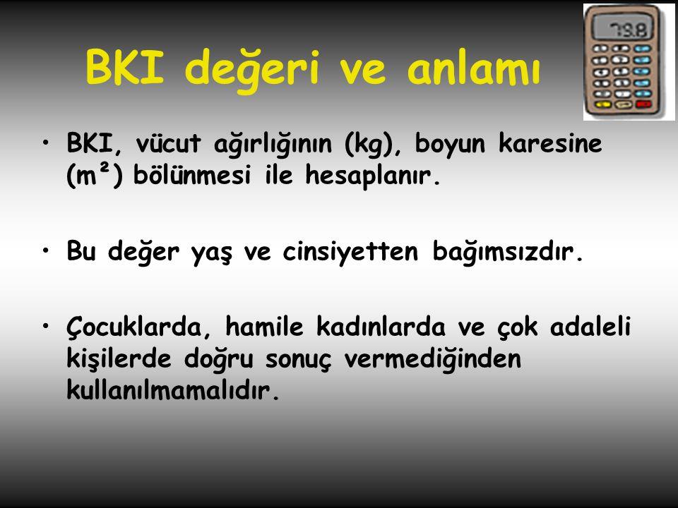 BKI değeri ve anlamı BKI, vücut ağırlığının (kg), boyun karesine (m²) bölünmesi ile hesaplanır. Bu değer yaş ve cinsiyetten bağımsızdır.