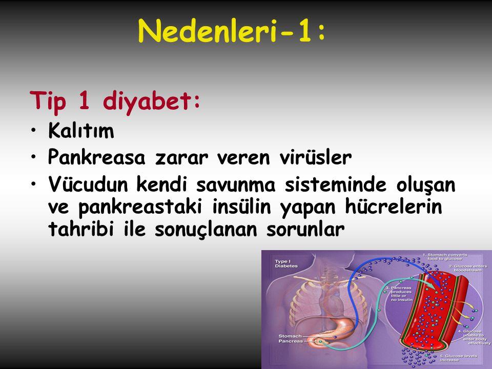 Nedenleri-1: Tip 1 diyabet: Kalıtım Pankreasa zarar veren virüsler
