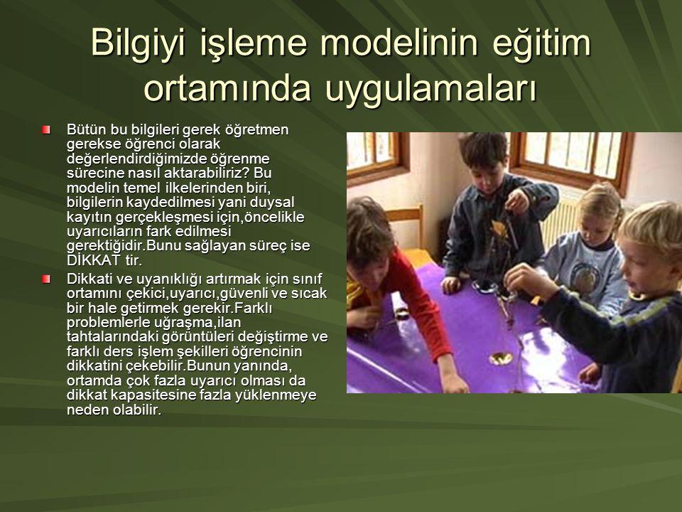 Bilgiyi işleme modelinin eğitim ortamında uygulamaları