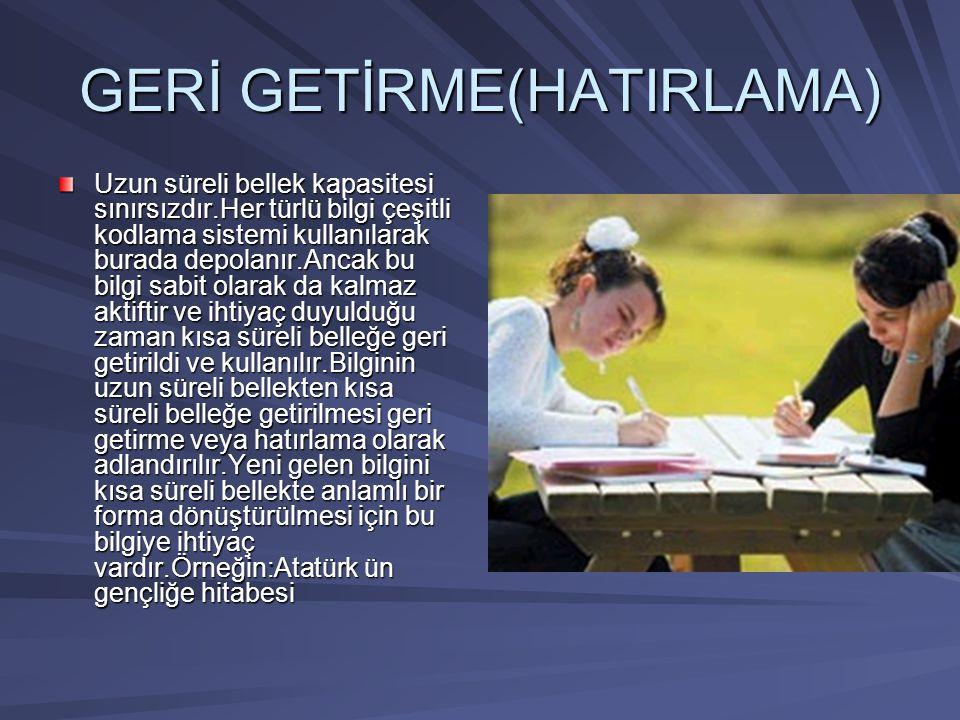 GERİ GETİRME(HATIRLAMA)