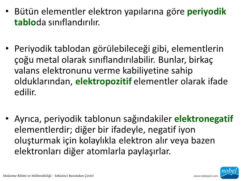 Bütün elementler elektron yapılarına göre periyodik tabloda sınıflandırılır.