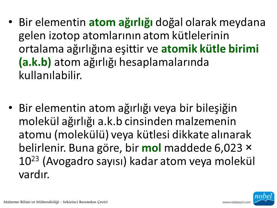 Bir elementin atom ağırlığı doğal olarak meydana gelen izotop atomlarının atom kütlelerinin ortalama ağırlığına eşittir ve atomik kütle birimi (a.k.b) atom ağırlığı hesaplamalarında kullanılabilir.