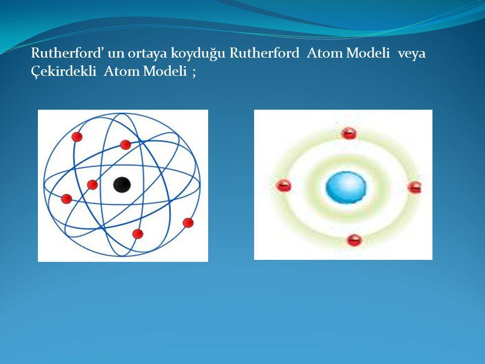 Rutherford' un ortaya koyduğu Rutherford Atom Modeli veya Çekirdekli Atom Modeli ;