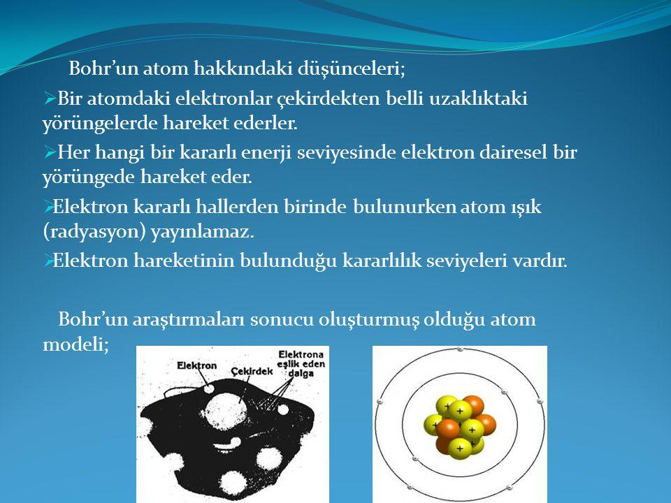 Bohr'un atom hakkındaki düşünceleri;