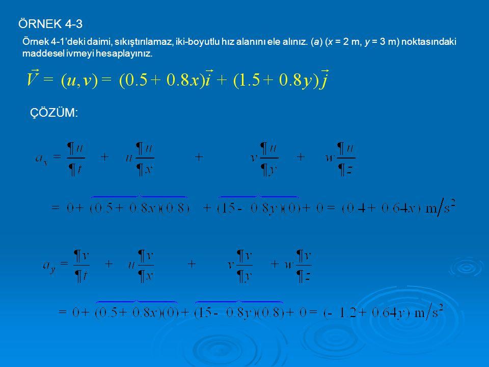 ÖRNEK 4-3 Örnek 4-1'deki daimi, sıkıştırılamaz, iki-boyutlu hız alanını ele alınız. (a) (x = 2 m, y = 3 m) noktasındaki maddesel ivmeyi hesaplayınız.