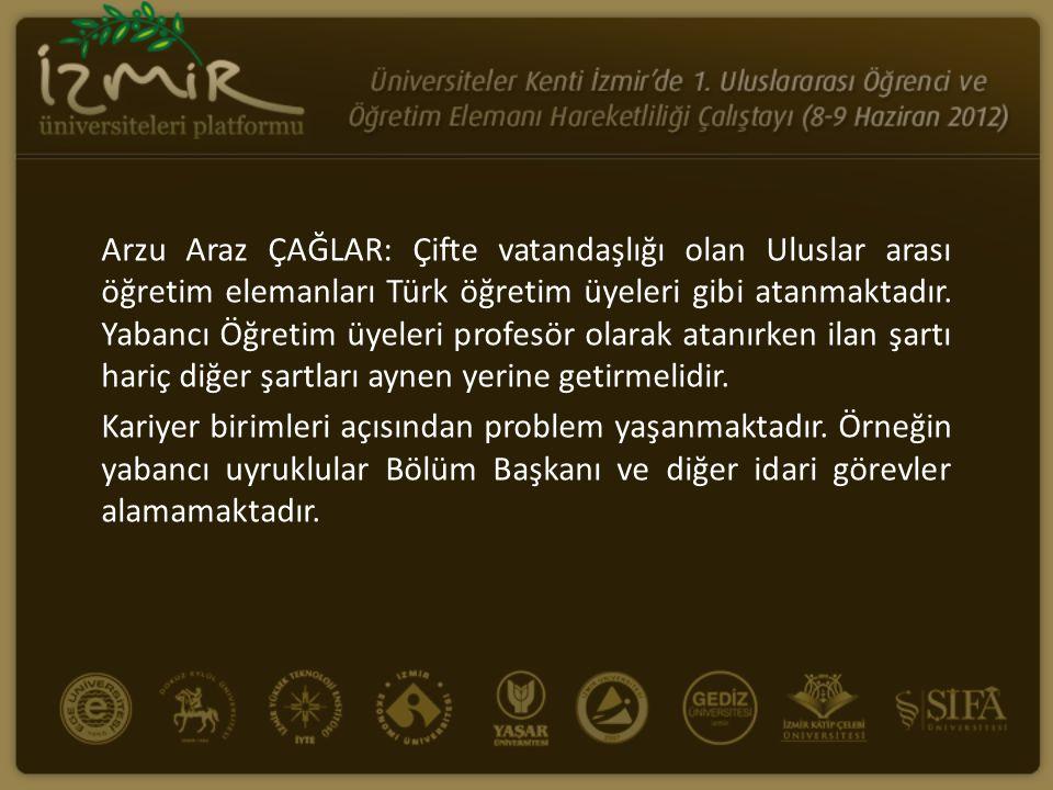 Arzu Araz ÇAĞLAR: Çifte vatandaşlığı olan Uluslar arası öğretim elemanları Türk öğretim üyeleri gibi atanmaktadır. Yabancı Öğretim üyeleri profesör olarak atanırken ilan şartı hariç diğer şartları aynen yerine getirmelidir.