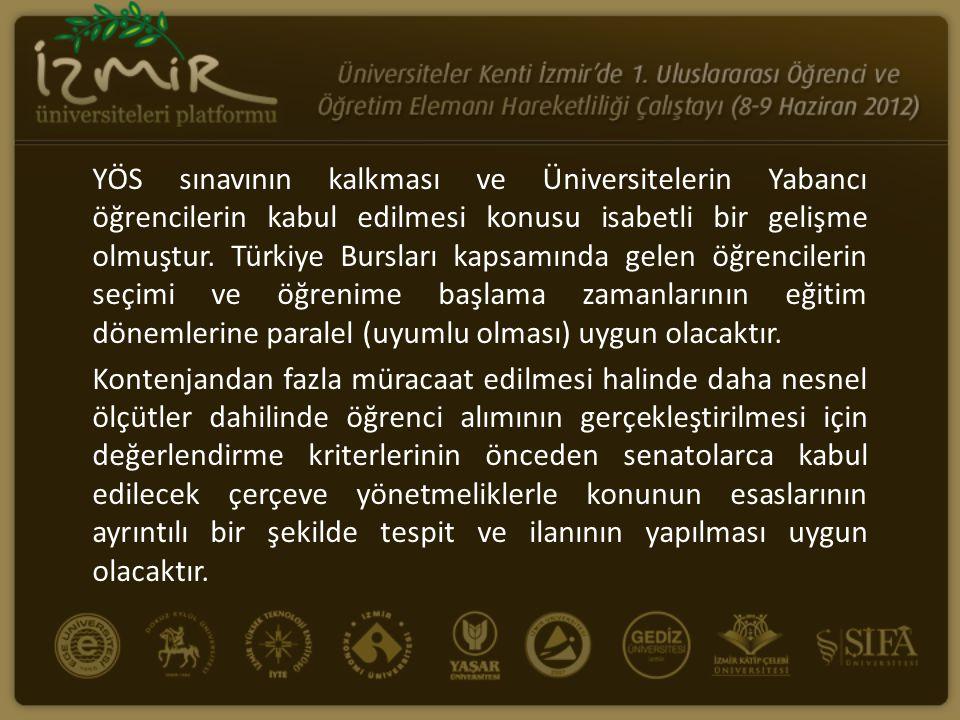 YÖS sınavının kalkması ve Üniversitelerin Yabancı öğrencilerin kabul edilmesi konusu isabetli bir gelişme olmuştur. Türkiye Bursları kapsamında gelen öğrencilerin seçimi ve öğrenime başlama zamanlarının eğitim dönemlerine paralel (uyumlu olması) uygun olacaktır.