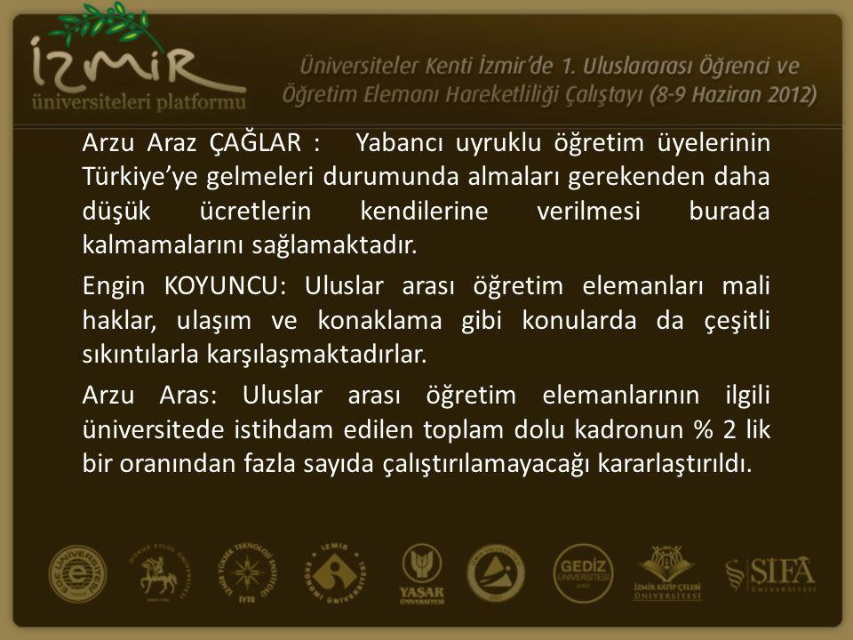 Arzu Araz ÇAĞLAR : Yabancı uyruklu öğretim üyelerinin Türkiye'ye gelmeleri durumunda almaları gerekenden daha düşük ücretlerin kendilerine verilmesi burada kalmamalarını sağlamaktadır.