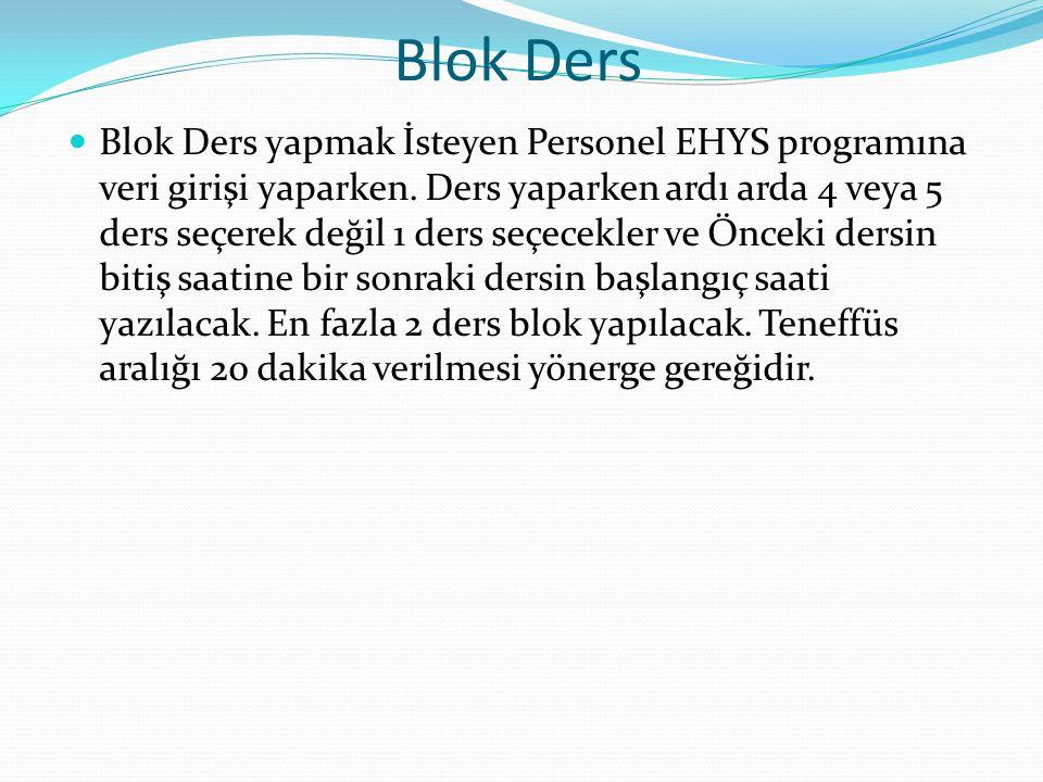 Blok Ders
