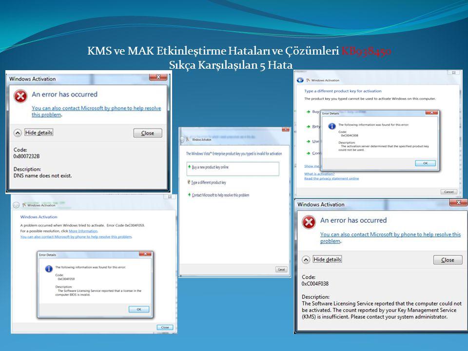 KMS ve MAK Etkinleştirme Hataları ve Çözümleri KB938450