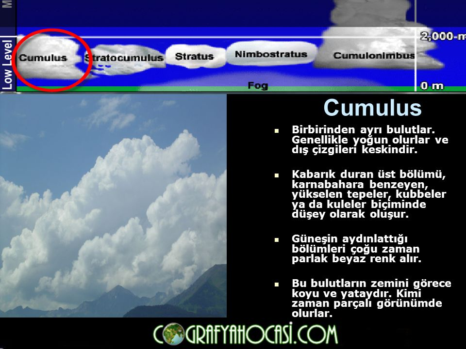 Cumulus Birbirinden ayrı bulutlar. Genellikle yoğun olurlar ve dış çizgileri keskindir.