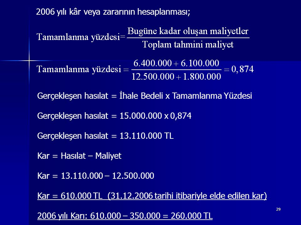 2006 yılı kâr veya zararının hesaplanması;
