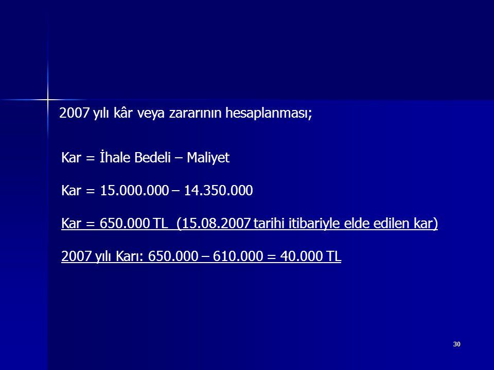 2007 yılı kâr veya zararının hesaplanması;