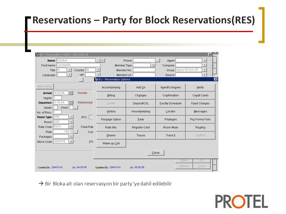 Reservations – Party for Block Reservations(RES)