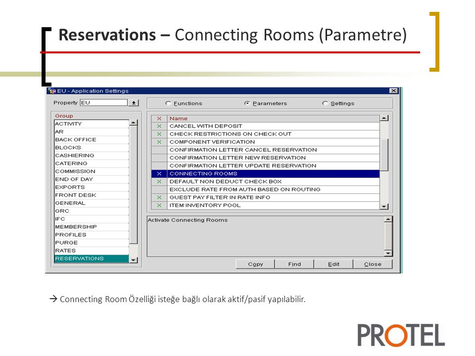 Reservations – Connecting Rooms (Parametre)